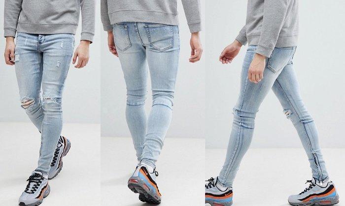 ◎美國代買◎ASOS代買拉鏈褲口搭配雙膝與褲管刷破英倫時尚頹廢風雙膝刷破拉鏈褲口淺藍合身牛仔褲~歐美街風~大尺碼~