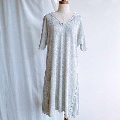 平常小姐┋僅穿一回免運┋日本【CABANE de ZUCCa】長版短袖針織衣ⓜ灰色 下擺造型 材質舒服 涼爽 原價8千多