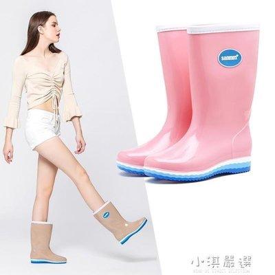 哆啦本鋪 純色系高筒長筒女士雨鞋簡約雨靴防滑可拆雨鞋女15018 D655
