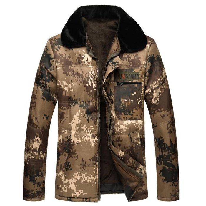 秋冬季中年男士迷彩棉衣外套加絨加厚棉襖男工作棉服勞保迷彩上衣