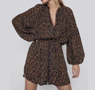 *洋裝*歐美新款冬季數碼印花收腰長袖連身裙 U7-38958