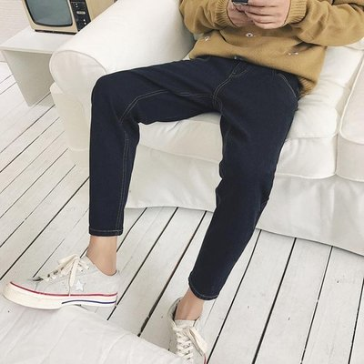 現貨/潮男褲腳拉鍊設計修身小腳褲男士韓版牛仔褲純色百搭牛仔長褲/海淘吧F56LO 促銷價