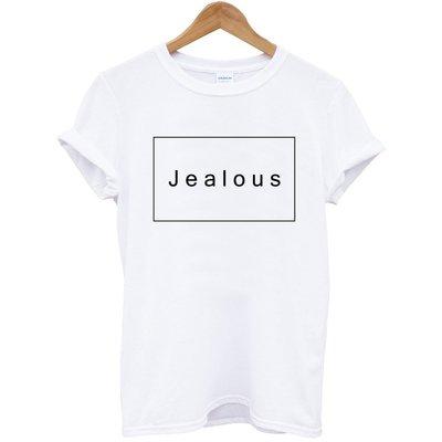 Jealous短袖T恤 白色 文字英文