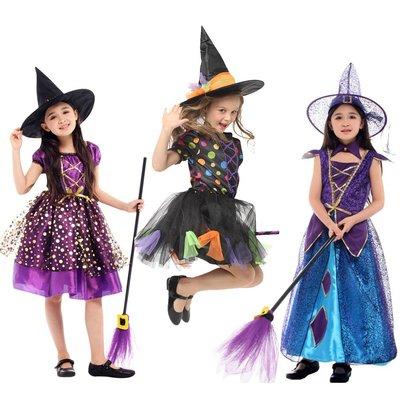 萬聖節服裝 萬圣節 兒童服裝play 女童巫婆衣服掃把 女巫連衣裙披風