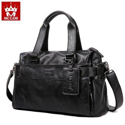 機車旅行包男士出差手提包軟皮包單肩斜挎包短途旅行商務行李包手拎公文包潮