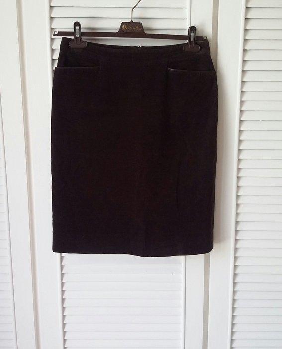 Loro Piana 黑棕色燈芯絨真皮飾雙口袋鉛筆裙