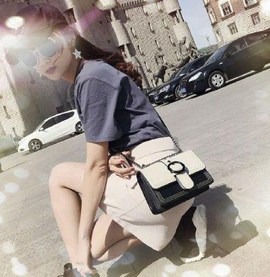 琳達購物中心-韓國東大門代購-時尚簡約百搭鍊條小包包-撞色單肩斜背手拿包