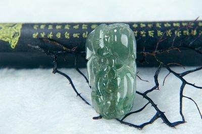 □§Disk的天然水晶§□【人生如意】老坑冰綠翡翠樹葉人蔘如意招財獸雕墜HC05