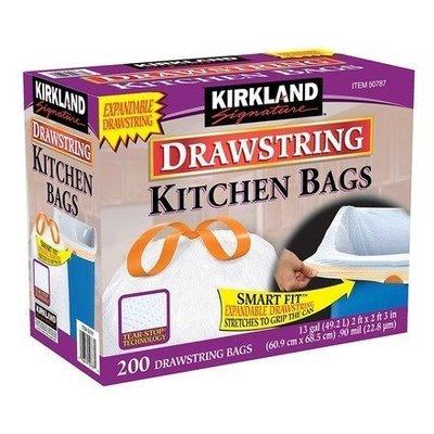 (漾霓)-代購~Kirkland科克蘭 拉繩式垃圾袋 49.2公升(60.9 x 68.5cm)200入-1089787