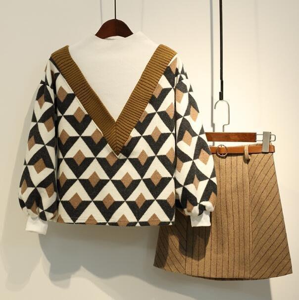 針織衫+短裙 微胖大尺碼女裝 新款洋氣減齡時髦顯瘦胖妹妹網紅兩件套裝 M-4XL碼—莎芭