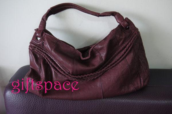 義大利設計師款Limitless 水洗小羊皮紫紅色 編織設計側肩半月包