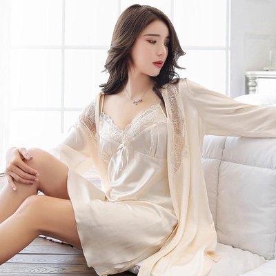睡衣女夏季冰絲睡裙兩件套長袖套裝性感吊帶睡袍夏天裝寬鬆家居服