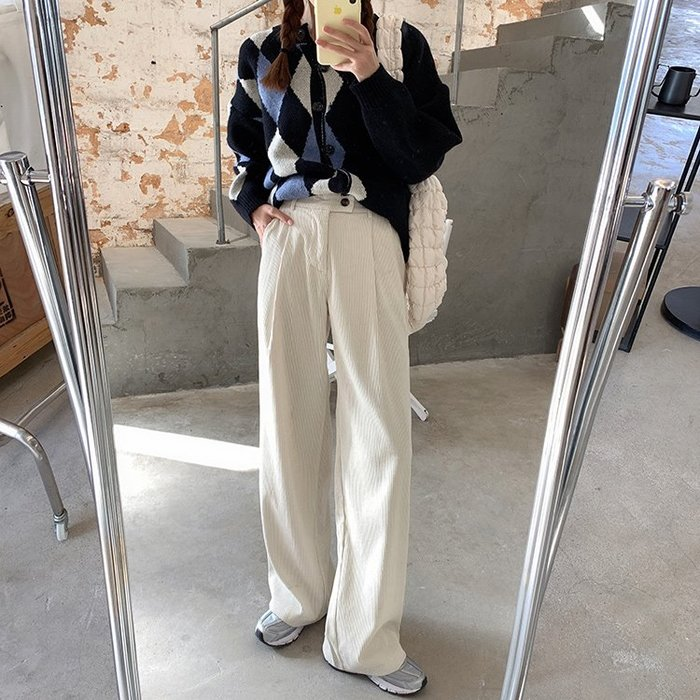 Maisobo 韓 秋冬 休閒加厚燈芯絨垂感寬管褲 3色 TO2-1006 預購