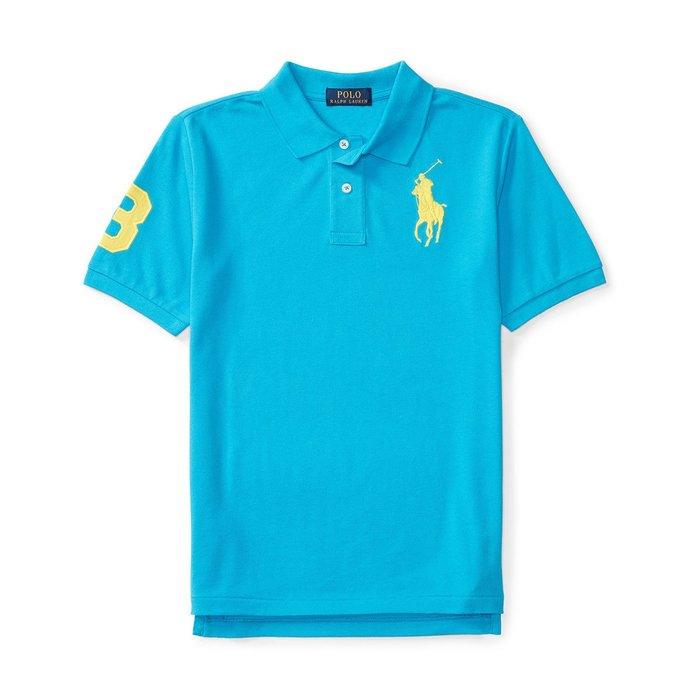 美國百分百【Ralph Lauren】Polo 衫 RL 短袖 網眼 上衣 黃色大馬 男款 XS S號 海洋藍 B003