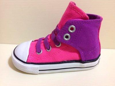 CONVERSE All Star 小童/北鼻 高筒帆布鞋 黏貼設計免綁帶 帥氣粉色系 13cm ~16.5cm