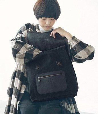 日本Kanmi. 學院風 牛革x帆布後背包