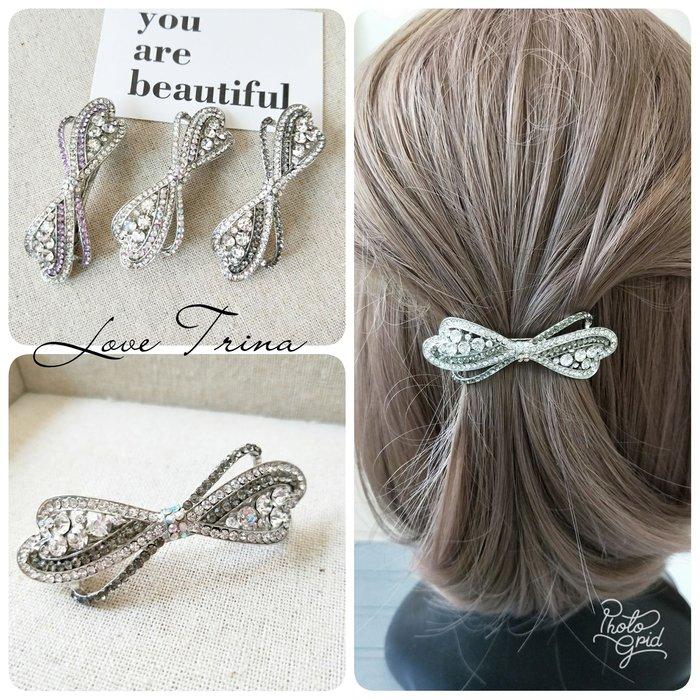 【Love Trina】9111-0606復古銀底色調亮鑽蝴蝶結金屬造型彈夾(6.5ᑕᗰ)。自動夾。髮夾 -(3色)~