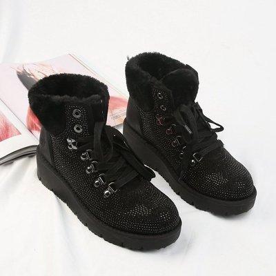 =86號店=德國S.Oliver 質感絨布面料 水鑽燙鑽  短毛裡布 加厚底 女短靴 黑如圖色