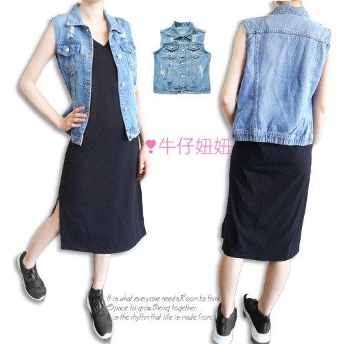 M~L歐美風 立領刷破 丹寧牛仔背心 兩側口袋 顯瘦罩衫 NN.791.127