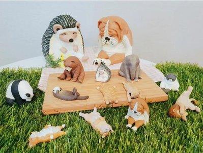 ☆Juicy☆超商 全家 休眠動物園 造型公仔 一套6款 現貨  英鬥犬 法鬥犬 柯基犬 短毛貓 獅子 熊貓