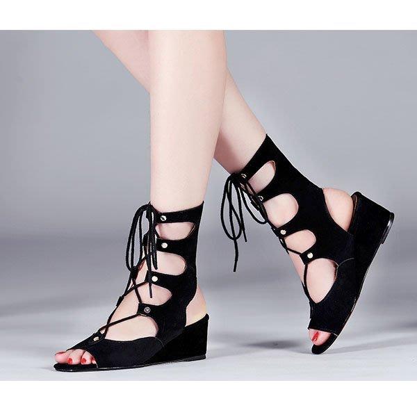 5Cgo【鴿樓】會員有優惠  100197539837 夏季新款歐美真皮涼鞋女坡跟魚嘴涼靴腳腕綁帶高跟鞋 漁夫鞋