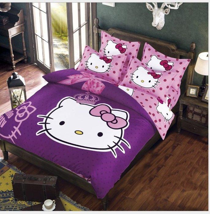 暖暖本舖 KT床笠夢幻3D銀河星空防塵抗菌情境浪漫創意單人雙人棉被套床罩枕頭套床包組 Hello Kitty超夢幻多款式
