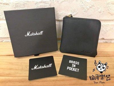 ♪ Your Music 愉耳樂器♪Marshall Brass in Pocket Black L型卡片零錢包 公司貨