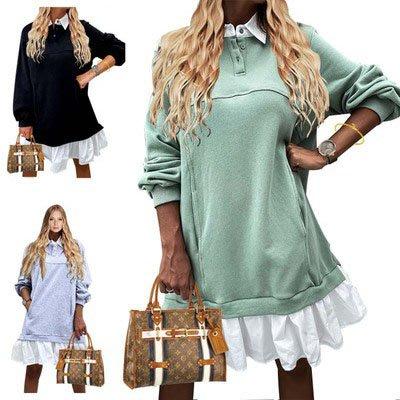 Women's long-sleeved T-shirt dresses 秋冬衛衣長袖連身裙