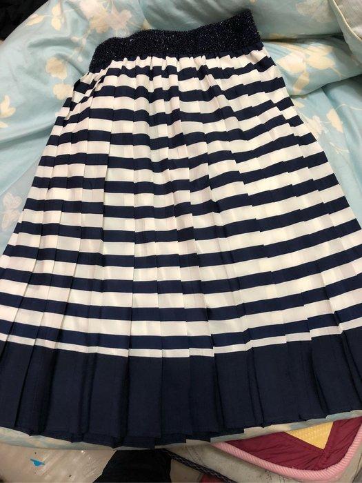 全新品牌條紋雪紡裙 約XS-小M