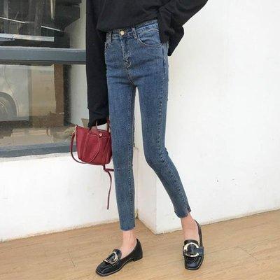 九分褲子2019女裝春季韓版小腳鉛筆褲修身chic高腰開叉水洗牛仔褲