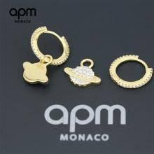 安安精品 保證正品!林志玲同款金APM MONACO AE10558OXY APM摩納哥金黃色純銀鑲晶鑽星球耳環
