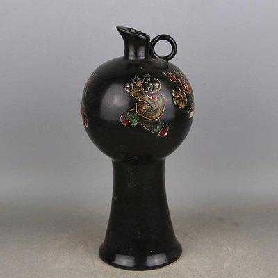 ㊣三顧茅廬㊣ 宋代定窯黑定加彩嬰戲紋梅瓶