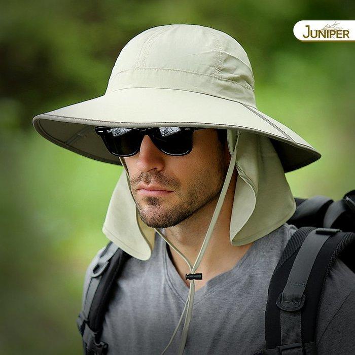 預售款-LKQJD-Juniper夏季男子大沿釣魚帽防曬登山帽戶外防紫外線遮陽帽太陽帽
