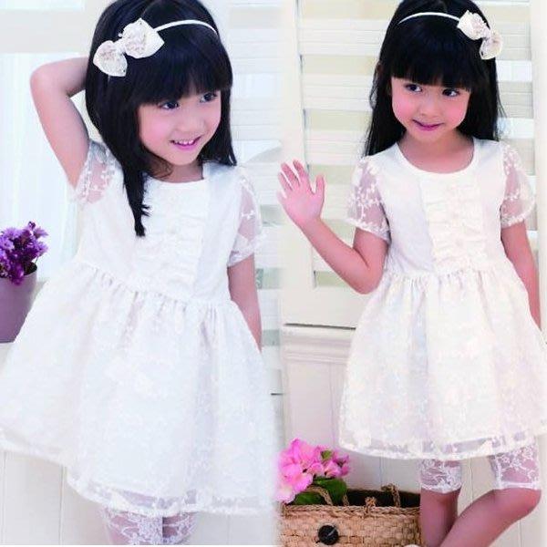 【班比納精品童裝】氣質蕾絲花卉白紗洋裝-白【BN150520013】