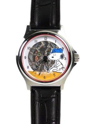 【卡漫迷】 六折出清 史奴比 手錶 皮革 黑色 ㊣版 高爾夫球 史努比 男錶 女錶 兒童錶 卡通錶 Snoopy