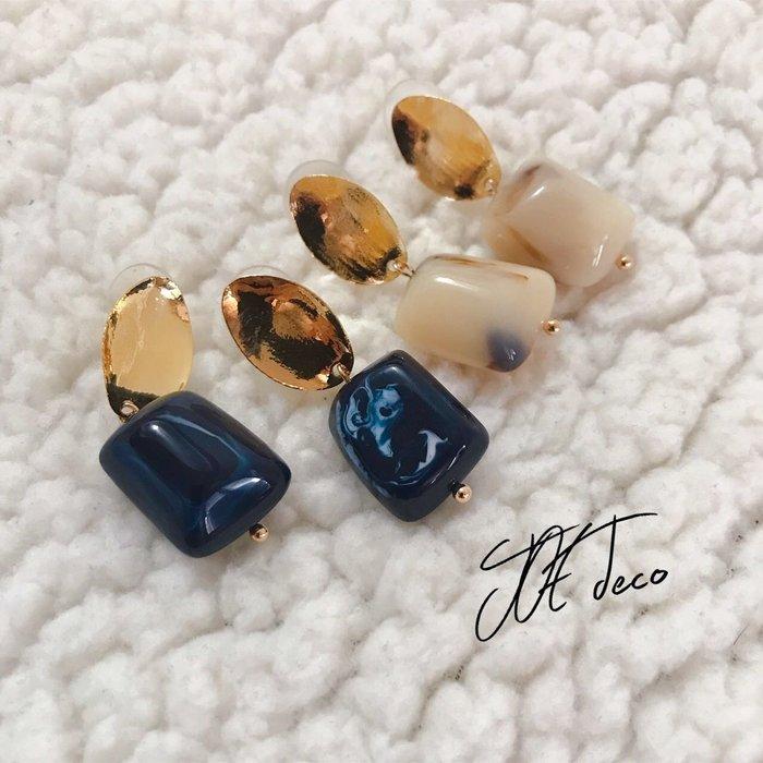 JOE deco💐橢圓不規則石純銀耳環 兩色
