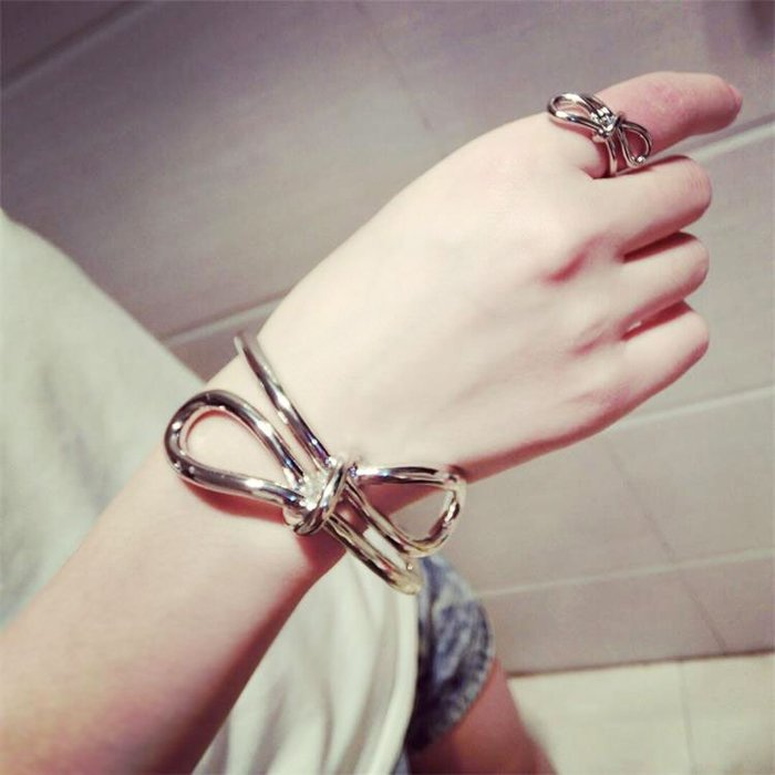 FEI日韓代購~韓國大蝴蝶結手鐲戒指歐美范夸張金屬手環指環套個性潮人裝飾品女