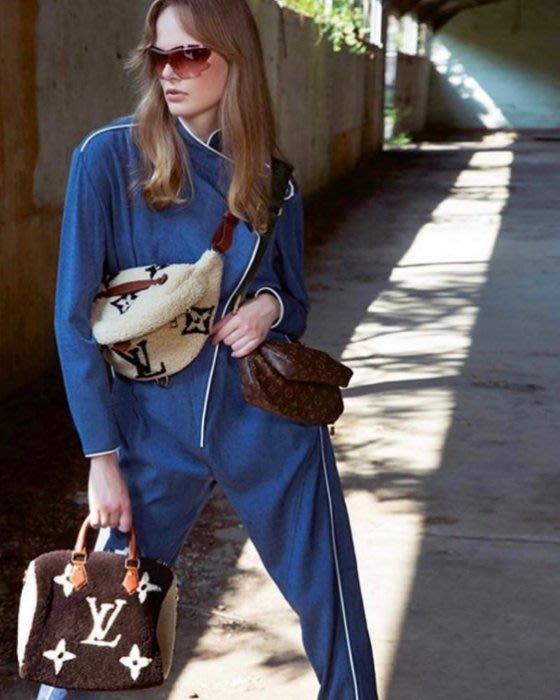 Louis Vuitton M55425 Monogram 訂製版羊毛腰包 焦糖/駝