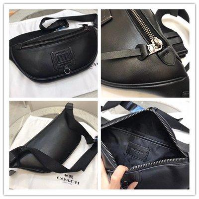 (Outlet特惠)COACH 37591 新款男士素面全皮腰包 胸包 斜挎包 附代購憑證
