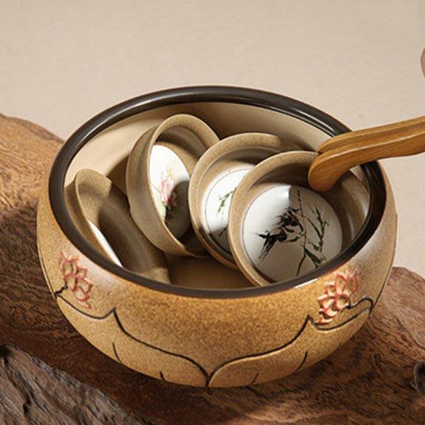 5Cgo【茗道】含稅會員有優惠 41529776798 陶瓷茶洗大號茶缸杯洗筆洗花盆魚缸茶道配件鎏金陶茶洗杯洗功夫茶具
