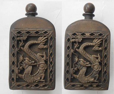 【早期。鼻煙壺】銅製。刻龍纹鼻煙壺