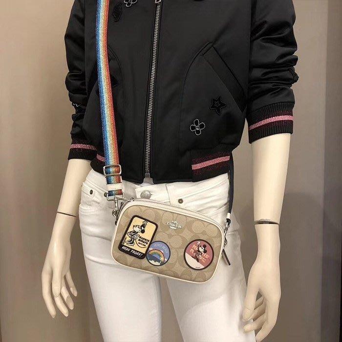 美國正品 COACH 31349 28344 Disney系列米奇相機包 立體微章單肩包 彩虹寬肩帶小挎包