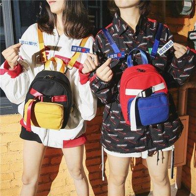 單肩包 手提包 方包 大包包 小包包ins日系韓版原宿ulzzang學生小背包撞色街拍個性潮帆布多用雙肩包