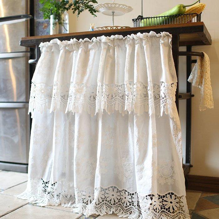 小清新少女蕾絲公主美式窗簾 半簾 純白棉布半簾 門簾 短簾 幔頭小窗簾