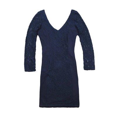 【Abercrombie&Fitch】【A&F】【零碼M】AF女款洋裝V領八分袖蕾絲黑藍 F04150415-03