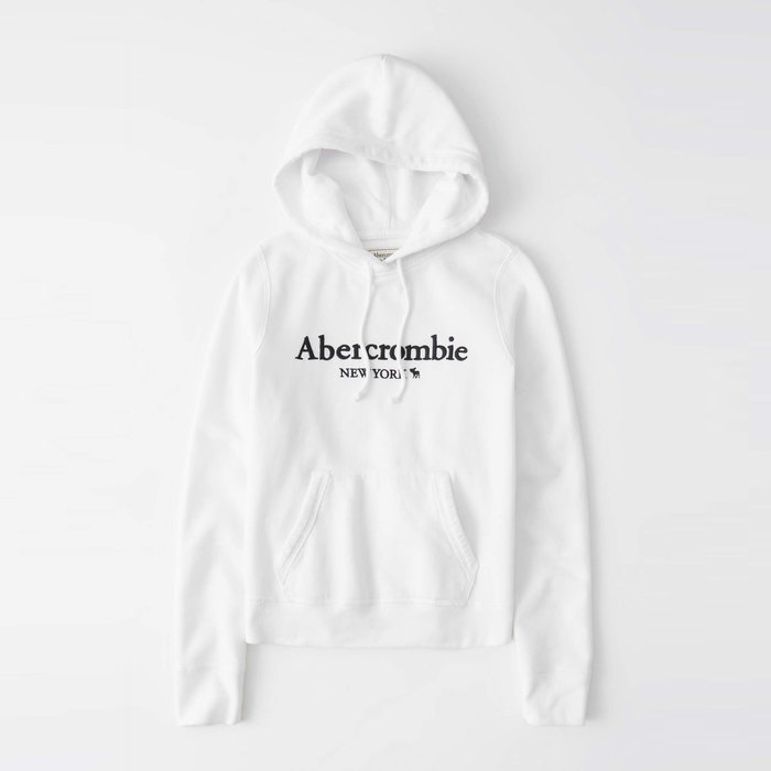 【Abercrombie&Fitch】【A&F】AF女款連帽T恤繡黑字小鹿白 F02201006-05