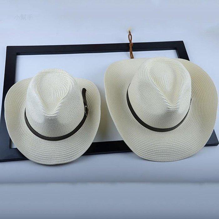 男士西部牛仔帽海邊沙灘度假情侶草帽時尚親子帽遮陽禮帽/優品小舖/