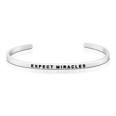 MANTRABAND 美國悄悄話手環 EXPECT MIRACLES 生命充滿奇蹟 銀色手環