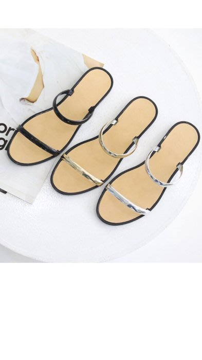 轉賣全新 韓 金屬兩條細帶拖鞋 銀24號