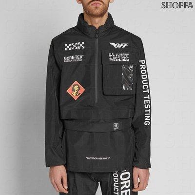 【SHOPPA】OFF WHITE GORE-TEX  印刷圖案 上衣 黑色  18秋冬新款